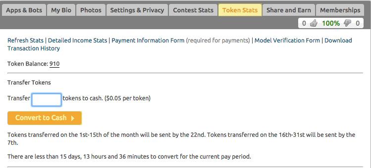 Como cadastrar no Chaturbate - Transferir tokens