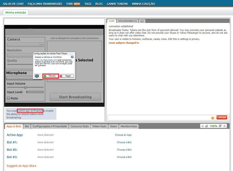 Como cadastrar no Chaturbate - Configuração da webcam